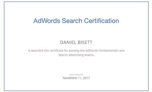 Google Adwords Search Marketing Certification
