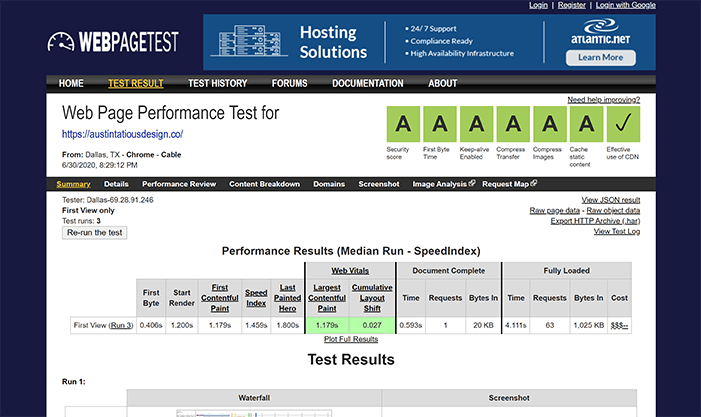 austintatious design webpagetest results w security