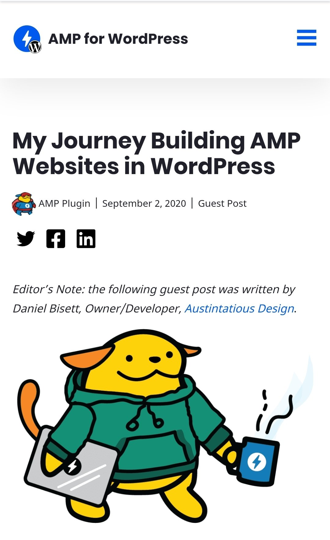 My Journey Building AMP Websites in WordPress for Austintatious Design Co