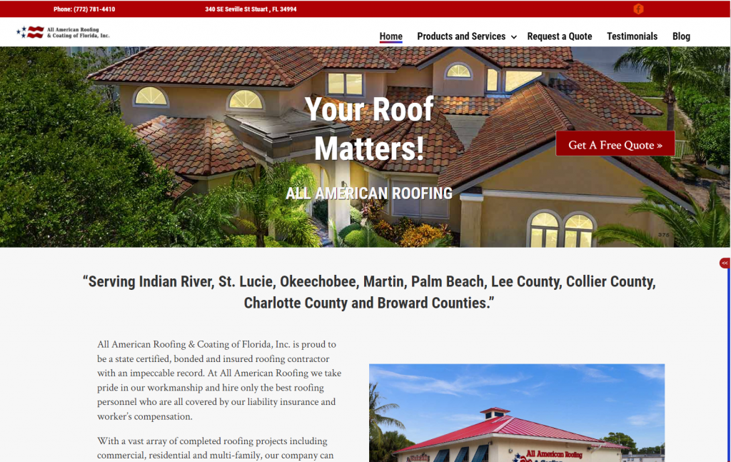 all-american-roofing-and-coating-of-fl-website-screenshot
