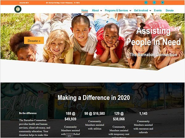 Screenshot of the Barnabas Connection website that Austintatious Design built.