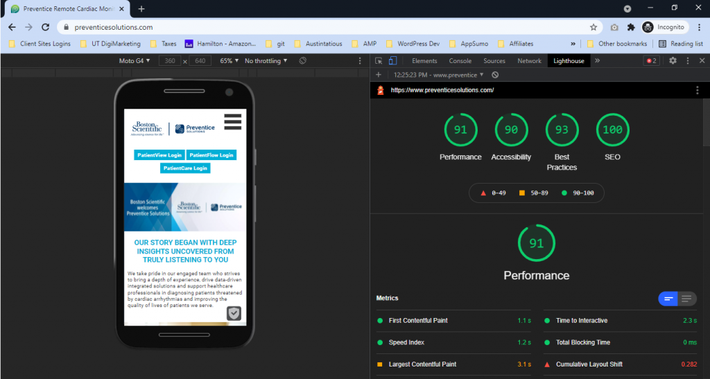 preventice-mobile-first-lighthouse-scores-91-90-93-100-july-2021