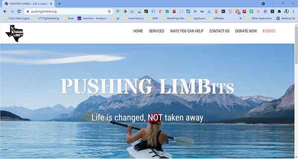 Screenshot of Pushing Limbits website that was built by Austintatious Design.